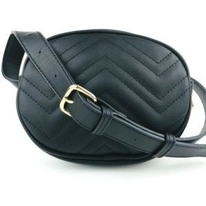 Handbags - Fanny Pack Purse Belt Black Faux Leather